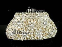 #8126G Crystal Flower Floral Bridal Party GOLD hollow Metal Evening purse clutch bag handbag