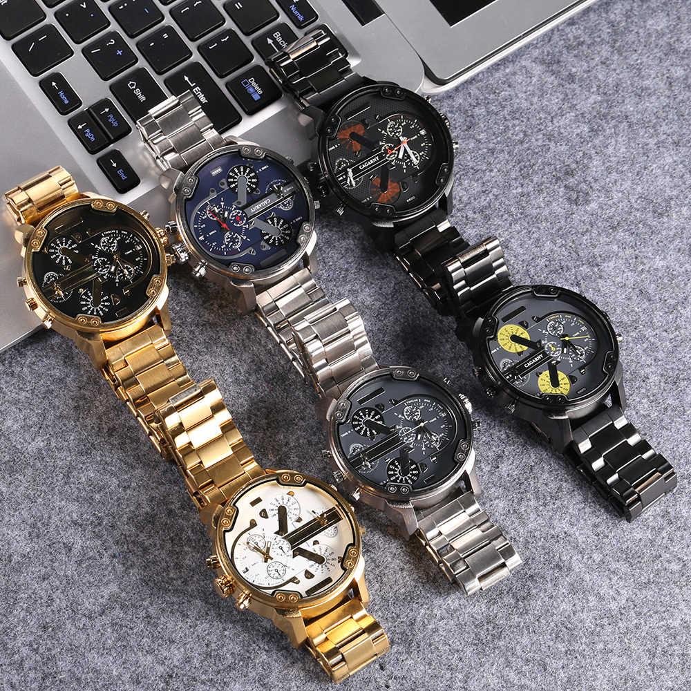 Cagarny marca gran Dial hombres relojes multifunción tira de acero de negocio reloj regalo de los hombres Relogio Masculino Montre Homme