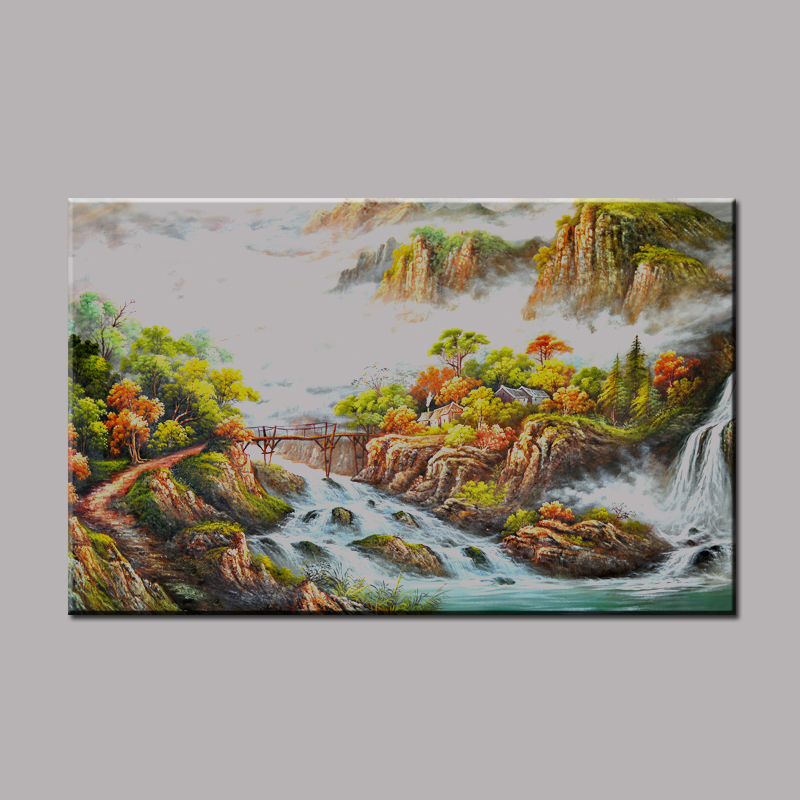 Canvas Prints Classical Chinese Landscape Painting Beautiful Scenery Mountain and River Wall Picture For Home Decoration LZ019