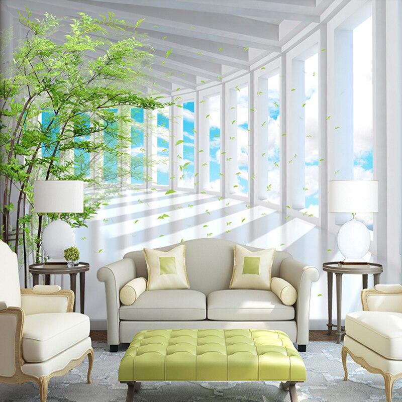3D Estereoscópico Espaço Céu Azul Floresta Moderna Sala de estar TV Fundo papel de Parede Mural Papel De Parede Personalizado 3D Efeito Da Foto Papel De Parede