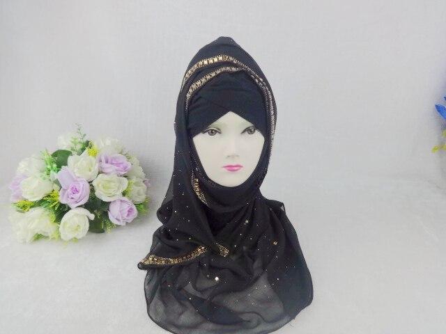 Georgette Hedvábné šály Šátek Diamantový šifon Glitter Solid, Dámské jarní šály 2015 Musilim Hijab, Dlouhý šátek, Zábal