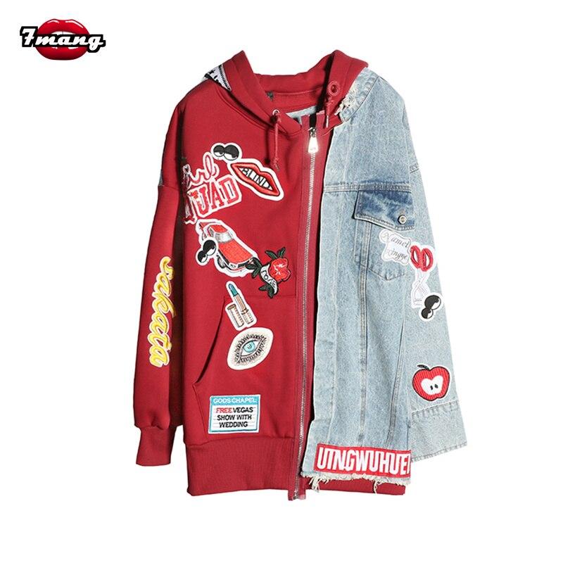 7 mang 2018 nouvelles femmes mode rue harajuku dessin animé patchs sweatshirts lâche fermeture éclair hoodies