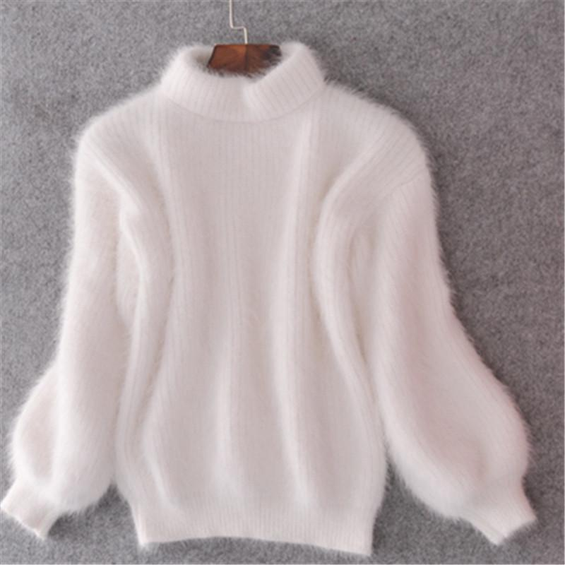 2019 Winter New Fashion Thickened Warm Turtleneck Mohair Female Sweater Lantern Sleeve Casual Solid Color Slim Simple Pullover