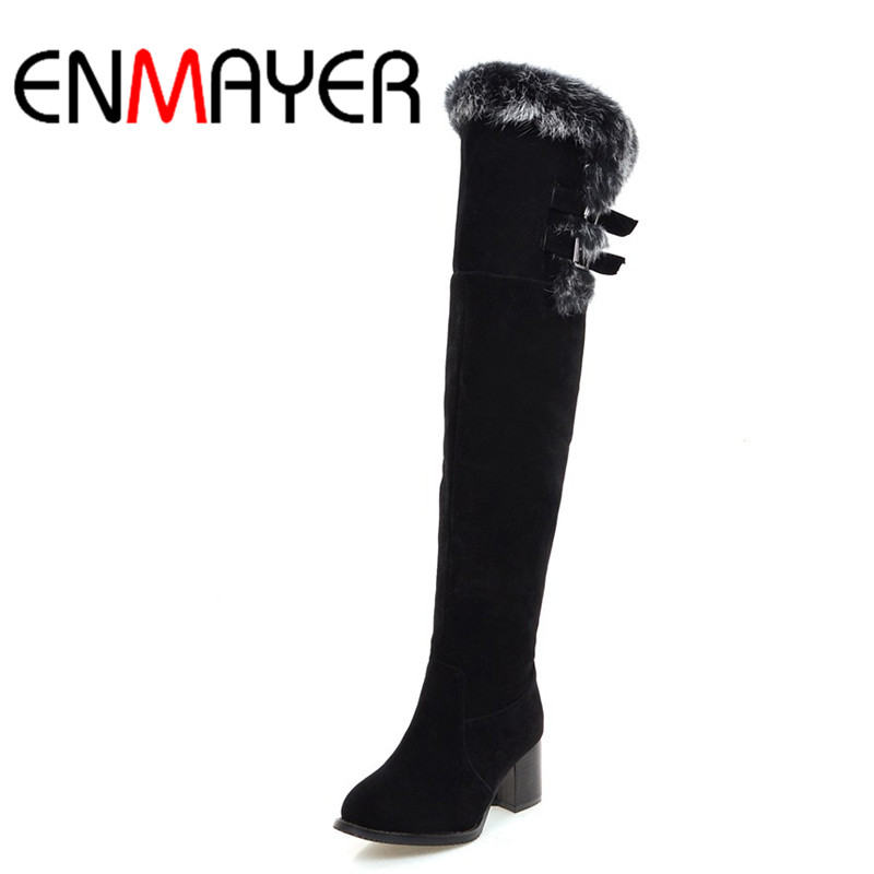 ФОТО ENMAYER Classic Black Shoes Woman Buckle Charms High Heels Winter Over-the-knee Boots for Women Zippers Round Toe Platfrm Shoes