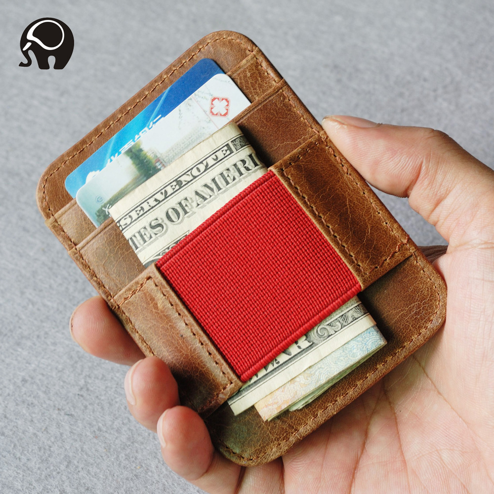 Oil Waxed Leather Money Clip Elastic Band Pocket Red Belt Elastic Band Wallet Moeny Clips