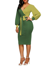Hot New Spring Autumn Dresses Women's Sexy Party Bodycon Midi Pencil Dress Office Work Long Sleeve V Neck Lace Up Dress Vestido