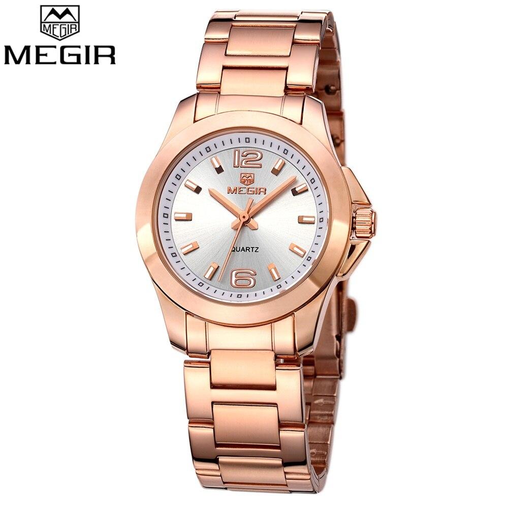 MEGIR Women Brand luxury Gold Quartz Watch Fashion Stainless Steel High Quality Ladies Watches Casual Simple