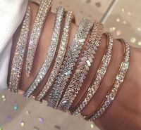 100 925 Sterling Silver Luxury Women Cuff Bangle Bracelet Rose Gold Color Full Cubic Zirconia Snake