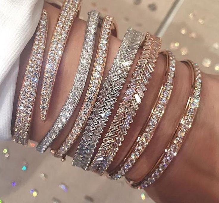 100% 925 sterling silver luxury women cuff bangle bracelet rose gold color full cubic zirconia snake shape adjust bangles