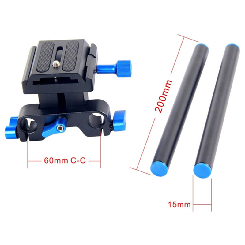 Yelangu Mini Single 15Mm Kit Connection Base For Sony Canon Aluminum Rail System 15Mm Rod Rig Grund Platte Ptz Mount Dslr 5D2 in Tripod Heads from Consumer Electronics