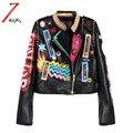 Más el tamaño 2017 Otoño de La Manera de Las Mujeres Punk Heavy Metal Calle Remache de Manga Larga de La Motocicleta Chaqueta de Cuero Corta Cremallera Negro Abrigo