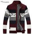 Brand Clothing Cardigan 2016 Winter Sweater Men Pattern Striped Zipper Thicken Fleece Coat agasalho masculino