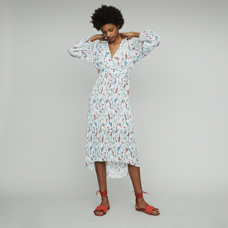 Women Dress 2019 Spring and Summer New Puff Sleeves Fresh Printed Pleated Skirt Dress