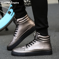 2018 Spring new High Top Fashion Sneaker Men Casual Lace up Shoes Metal leopard head Design Comfortable Flats Hip Hop Shoes