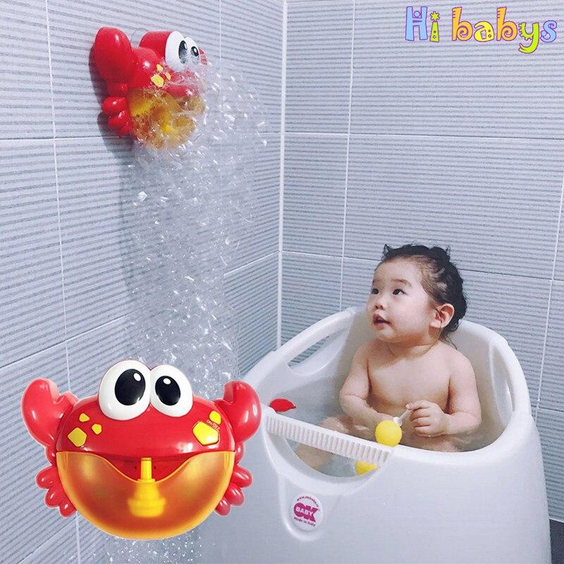 Bebé juguetes de baño de burbuja cangrejos juguetes para niños baño música burbuja de bañera piscina jabón de baño
