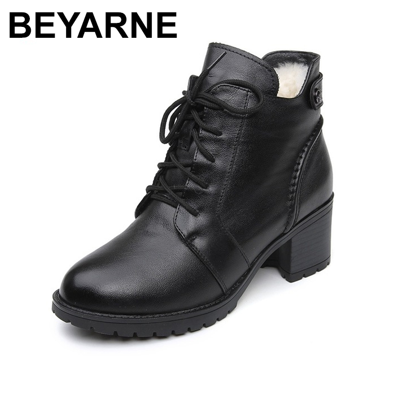 BEYARNE Comfortable Soft Genuine Leather Winter Boots 2018 Fashion Women Ankle Boots Casual High Heels Shoes Female Snow Boots настольная лампа офисная arte lamp banker a2493lt 1ab