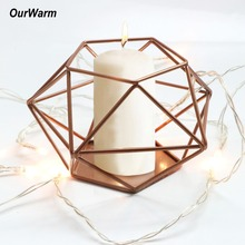 Gold Metal Geometric Candle Holder