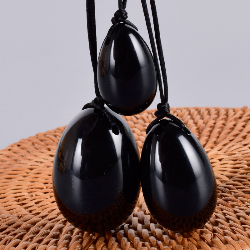 Jade Egg Set Drill Natural Obsidian Yoni Egg Mineral Quartz Healing Massage Ball Kegel Exercise Pelvic Floor Muscle For Women