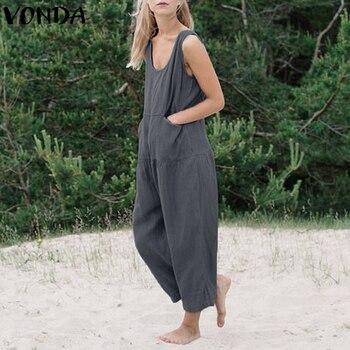 fd226d7e VONDA peleles mujer mono 2018 verano embarazada Casual algodón monos pierna  ancha Pantalones talla grande maternidad monos