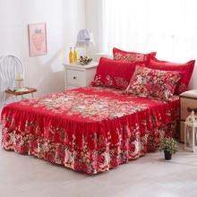 цены на 150 x 200cm Floral Fitted Sheet Cover Graceful Bedspread Lace Fitted Sheet Bedroom Bed Cover Skirt Wedding Housewarming Gift  в интернет-магазинах