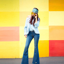 NELLBANG Full-length flare denim pants cool soft mid-waist light washed regular 2017 new autumn women female