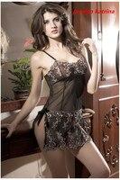 Jocelyn Katrina marca negro mujeres sexy ropa interior calor pijamas de seda del brote transparente medias Erotic dress Pijamas