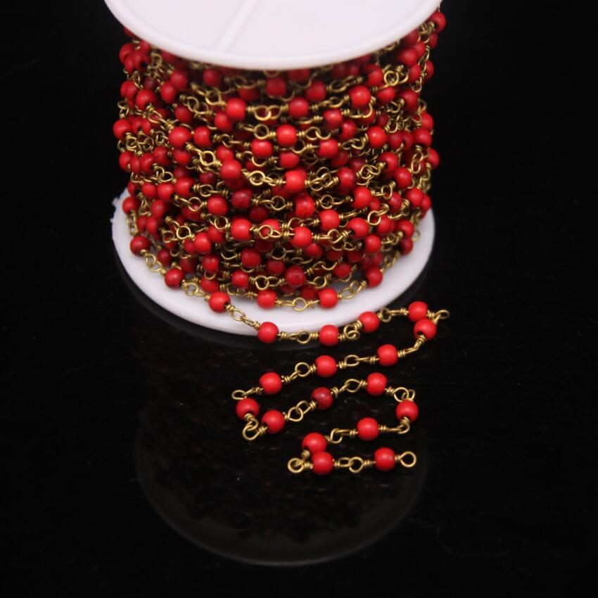5Meter,4mm Round beads Red Howlite Fashion Rosary Chain,Red Turquoises beads Wire Wrapped Link Chain DIY Bracelet Necklace