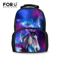FORUDESIGNS Cool Horse Children School Bags,Wolf Galaxy Felt Book Bag for Boys Girls,Kawaii Student Satchel Printing Backpack