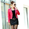 2017 Spring Leather jacket women Stand Collar PU Leather Coat Women Motorcycle Faux Leather Jacket Female Red Black Blue M-3XL