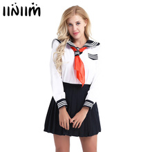 b64af30a7 Women Girls Cosplay Costume Sailor School Uniform Dress Up Suit Long Sleeve  Shirt with Pleated Skirt