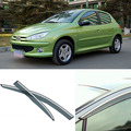 4 pcs Lâmina Lateral Do Windows Defletores Porta Viseira Protetor Para Peugeot 206 2004-2010