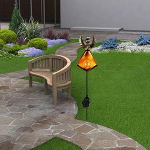 Image 5 - Lampe solaire flamme LED rétro fer jardin pelouse lampe extérieure jardin paysage décor éclairage soleil lune Angle flamme lumières solaires