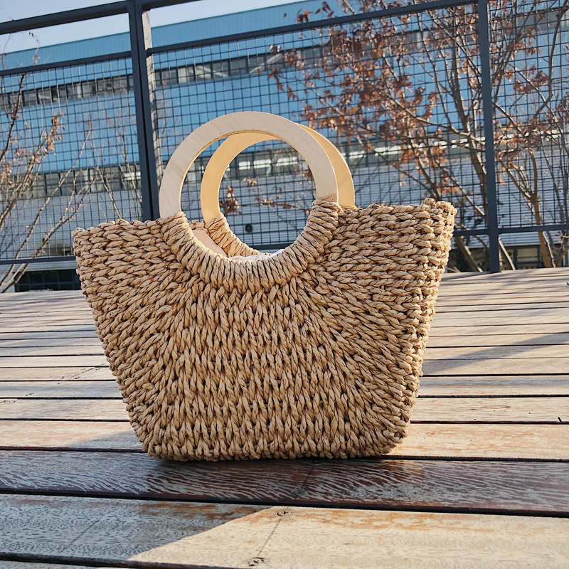 2019 new straw bag ins square handbag simple hand woven large capacity ladies beach