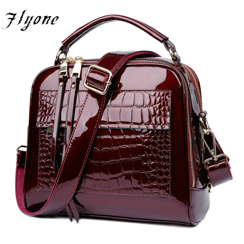 FLYONE Bag Brand Women Handbags Crocodile Leather Fashion Shopper Tote Bag Female Luxury Shoulder Bags Handbag Bolsa Feminina women messenger bags cow split leather bag female handbag fashion crocodile evening bags red shoulder bag handbags bolsa tasche