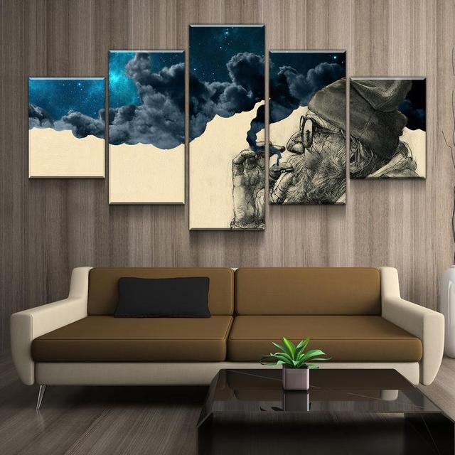 HD Printed 5 Pieces Canvas Art Smoke and Wonder Canvas Old Beard Man Canvas Prints Vintage Wall Pictures for Living Room Modern