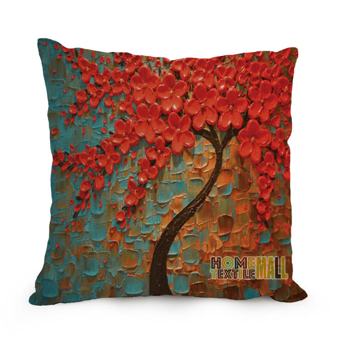 decorative cushion covers 60*60cm Cushion Cover Tree Cotton Linen Throw Pillow Cover decorative ...