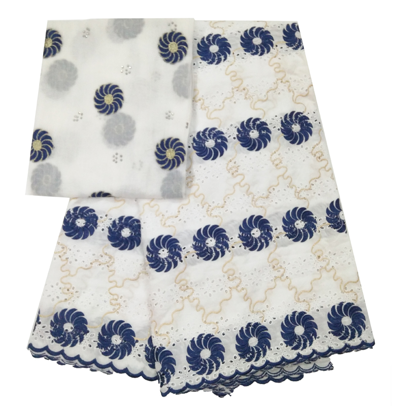 2018 Hot Sale White/Bule Bazin Riche Getzner High Quality African Cotton Swiss Brode For Women Fashion Dress 5+2yards JJ226-12018 Hot Sale White/Bule Bazin Riche Getzner High Quality African Cotton Swiss Brode For Women Fashion Dress 5+2yards JJ226-1