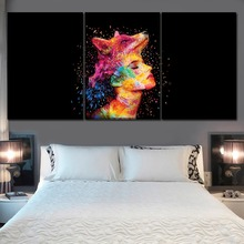 Canvas Painting Wall Art Home Decor HD Print 3 Pieces Abstract Colorful Wolf Head And Women Face Pictures For Bedroom Decorative цена в Москве и Питере
