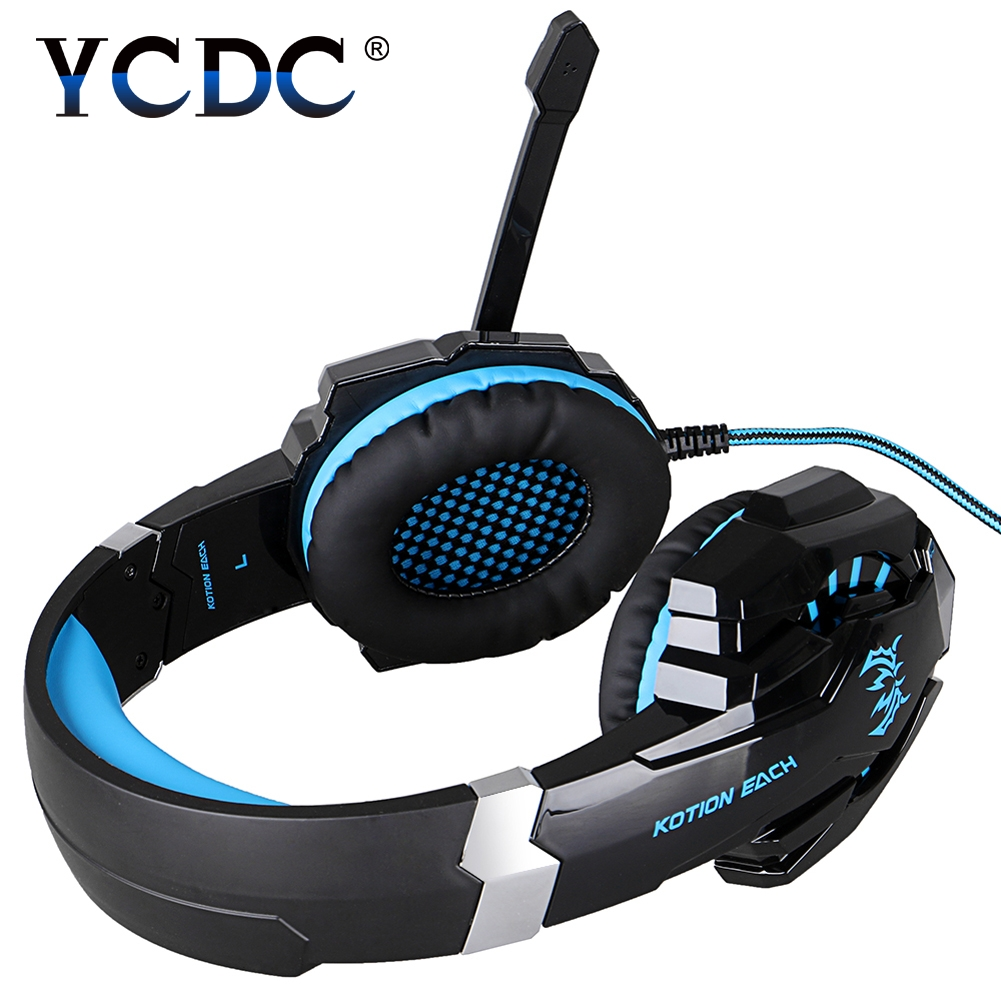KOTION EACH G9000 3.5mm USB Gaming Headphone Game Stereo Headset with Mic LED Light for PS4 PC Tablet Phone g1100 3 5mm pro gaming headset headphone for ps4 laptop crack pattern led led blue black red white