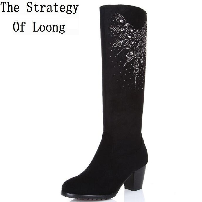 Europe America Style Women Winter Thick High Heel Genuine Leather Crystal Round Toe Knee High Boots Plus Size 31-45 SXQ0721 women winter genuine leather thick high heel side zipper round toe fashion mid half boots plus size 34 45 sxq1007