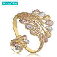 MECHOSEN Nigerian Wedding Jewelry Sets Bangle Ring For Women Lady Bijoux 3 Tones Plated Width Feather Geometry Baguette Bangles
