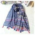 1PC190*70 cm 2016 Nuevo Diseño de Moda de Rayas de Lino y Algodón Mujeres Bufanda Mujer Lino Pashminas Shaw