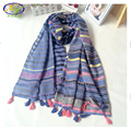 1PC190*70cm 2016 New Design Fashion Striped Linen & Cotton Women Scarf  Woman Linen Pashminas Shaws