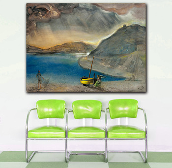 Salvador Dali port Lligat landscape, before the storm, 1956 Printed on Canvas Painting For Living Room Home Decor Wall Pictures 3