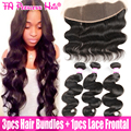 7A Peruvian Virgin Hair With Closure,Peruvian Bodywave Human Hair With Closure,13x4 Ear To Ear Lace Frontal Closure With Bundles