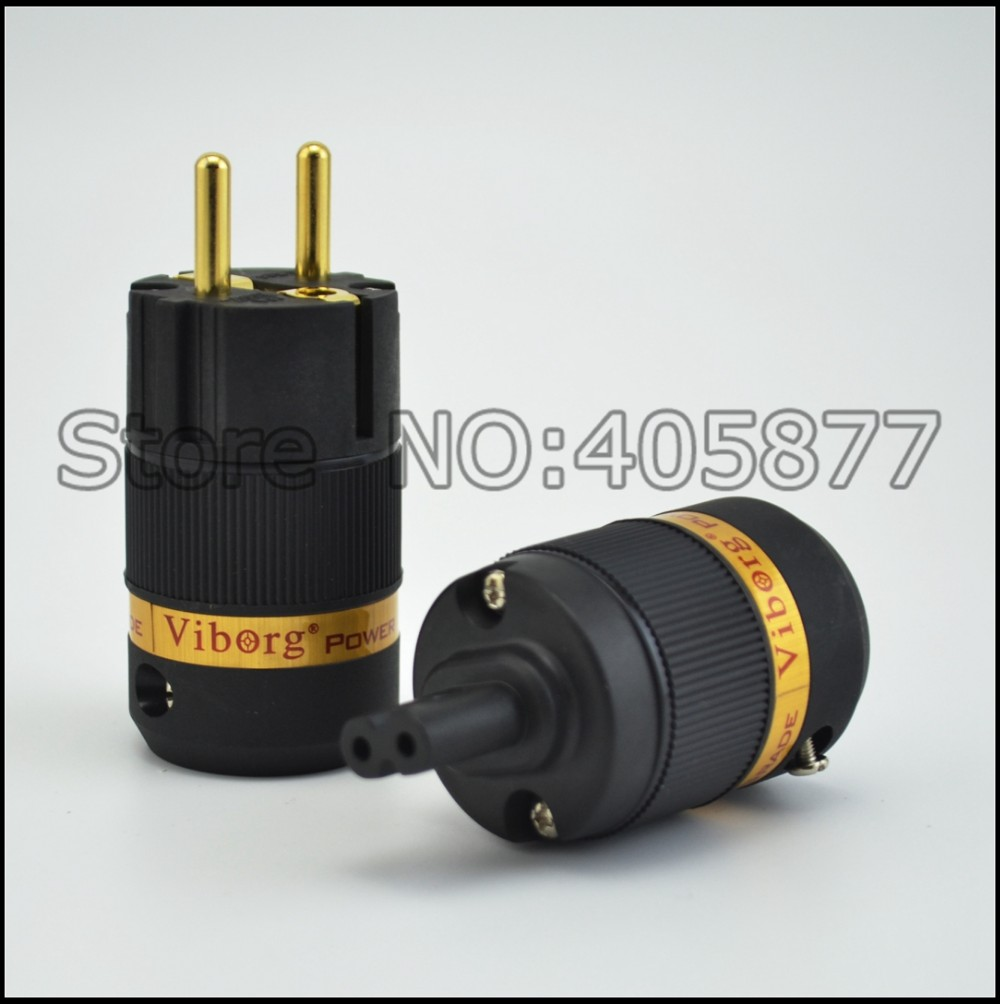 pair Viborg VE501G+VF508G Audio gold plated Schuko power plug connector +Figure 8 IEC plug connector pair viborg ve501g vf508g audio gold plated schuko power plug connector figure 8 iec plug connector