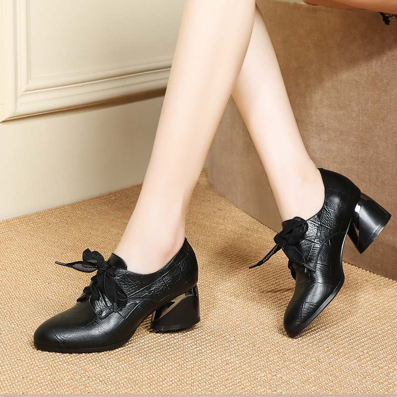 Women Cow Leather High Heels Round toe Platform Pumps Genuine Leather Lace Up High Heel Shoes Ladies Oxfords Footwear ShoesWomen Cow Leather High Heels Round toe Platform Pumps Genuine Leather Lace Up High Heel Shoes Ladies Oxfords Footwear Shoes