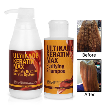 300ml 5% Formalin Keratin Treatment+100ml Purifying Shampoo Straightening and Repair Damage Frizzy Hair Free Shipping without formalin 1000ml keratin hair repair treatment hair care 300ml purifying shampoo get free gifts
