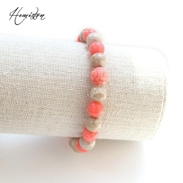 Фото браслет из разноцветных бусин thomas с розовым коралловым камнем цена