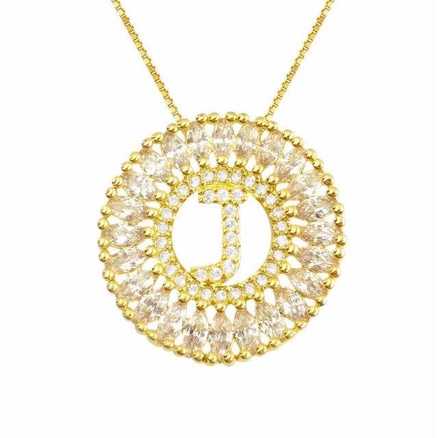 2f976f58ecf3 Brasil venta superior mandala de letra J collar oro color colgante inicial  cadena cubic zirconia letra